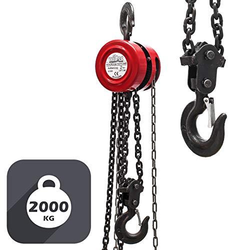 Polipasto manual de cadena 2000kg con cadena 3m, elevación de cargas forestales, en talleres, etc.