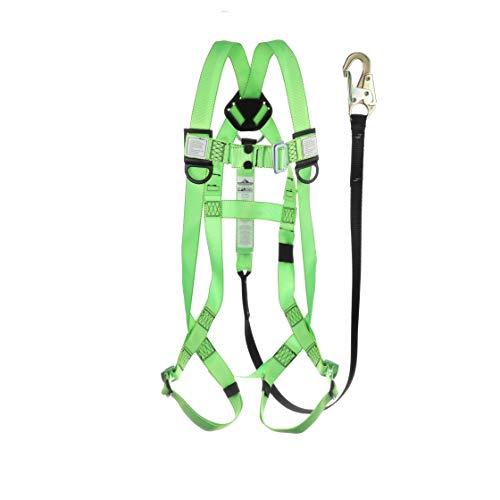 Peakworks - 4400-BA1CKTS Safety Harness Fall Protection Lanyard Kit – Full Body, Industrial, ANSI OSHA Compliant, Adjustable, Hi Vis, 6 FT, 3 Point System - Green