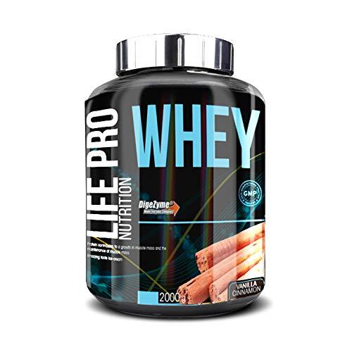 Life Pro Whey 2Kg   Suplemento Deportivo, 78% Proteína de Concentrado de Suero, Protege Tejidos, Anticatabolismo, Crecimiento Muscular y Facilita Períodos de Recuperación, Sabor Vainilla con Canela