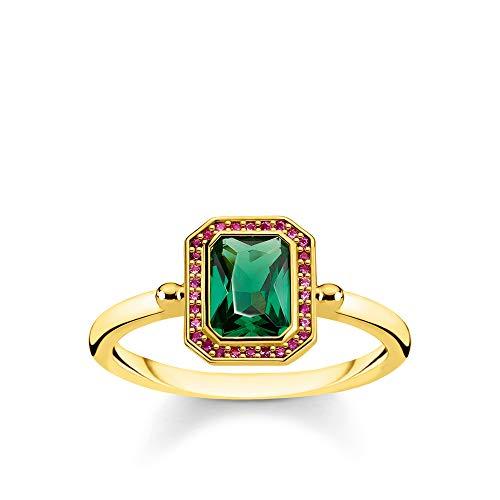Thomas Sabo TR2264-973-7-54 Damesring, stenen rood en groen goud, 925 sterling zilver, geelgoud verguld