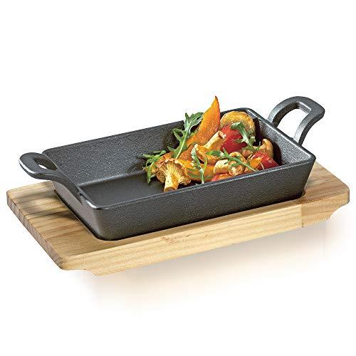 Culinaris Küchenprofi - Gusseisen BBQ Grillpfanne Servierpfanne mit Holzbrett (Servierpfanne eckig, 1 Stück)