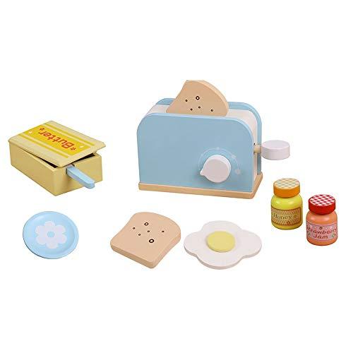 9 PZ Toy Kitchen Kitchen Legno Tostapane Pop-up Pop-up Play Set, Tostapane Interactive Prima apprendimento, Piatto, Coltello, Uovo in camicia, Salsa di fragole, Miele e burro affettato, per ragazze e