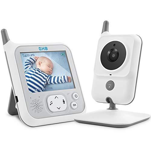 GHB Bébé Moniteur Babyphone Caméra 3,2 Inches LCD 2,4 GHz avec Fonciton VOX Capteur de Température Bidirectionnelle Vision Nocturne Fonction de Compte à Rebours d'Alimentation