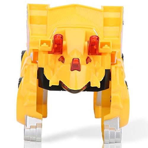 Juguete de deformación para automóvil, escala 1:24, con motor de fricción, juguetes de fundición a presión con luz LED, regalos de cumpleaños, regalos de Navidad para bebés(amarillo)