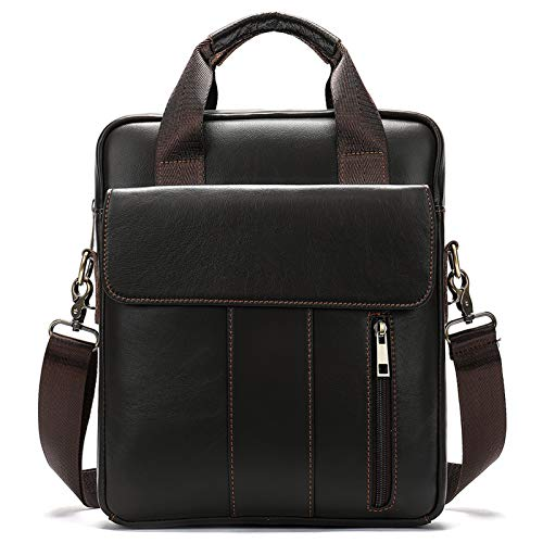 Serious Lamp Leather Shoulder Bag 13.3 inch Laptop Bag Men's Cross Body Tablet Small Messenger Business Casual Travel Daily
