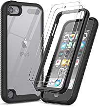 iPod Touch 7 Case, iPod Touch 6 Case with Tempered Glass Screen Protector [2 Pack], LeYi Full-Body Protective Hybrid Rugged Shockproof Bumper Clear Case for iPod Touch 7th / 6th / 5th Gen, Black