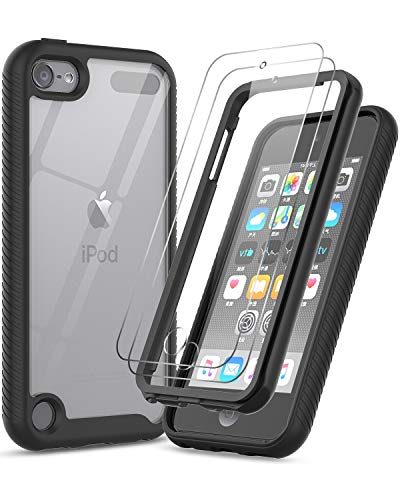 iPod Touch 7 Case iPod Touch 6 Case with Tempered Glass Screen Protector 2 Pack LeYi FullBody Protective Hybrid Rugged Shockproof Bumper Clear Case for Apple iPod Touch 7th / 6th / 5th Gen Black