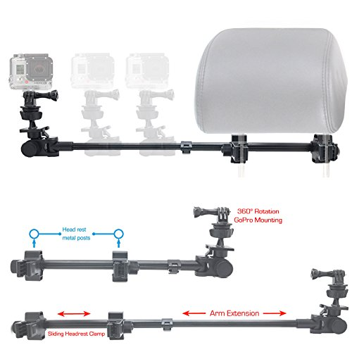 ChargerCity GoPro Fusion Session Hero7 Hero6 Hero 7 6 5 4 3 Secure Dual Post Lock Telescopic Headrest Mount with Sliding Aluminum arm (Compatible with All Gopro Hero/Session Camera case)