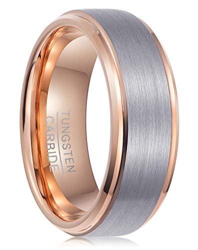 PINONLY Tungsten Carbide Ring Mens Wedding Band,Mens Engagement Ring,Promise Ring Him,6mm 8mm,Black Rose Gold Blue White,Comfort Fit,Brushed(RoseWhite,Size9.5)