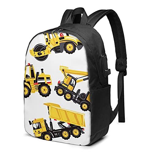 Laptop Backpack with USB Port Road Roller Bulldozer Dumper Truck, Business Travel Bag, College School Computer Rucksack Bag for Men Women 17 Inch Laptop Notebook