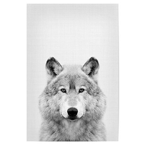 artboxONE Poster 30x20 cm Für Kinder Wolf Portrait hochwertiger Design Kunstdruck - Bild Wolf Portrait Blackwhite