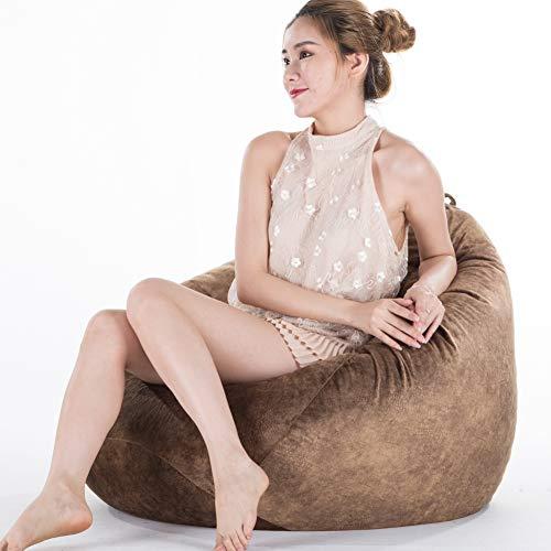 XuBa - Puf de almacenamiento de peluche, bolsa extra grande, funda para sofá (relleno no incluido), 90 x 110 cm, color marrón