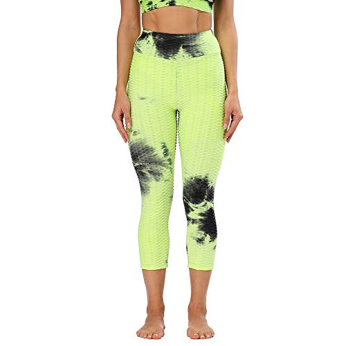 Pantalones De Yoga Para Mujer - Longitud De La Pantorrilla De Verano Leggings Anti-Celulitis Mujeres Escrunch Trasero Pantalón Push Up Black Sport Leggings Fitness High Waist Workout Activewear,Whit