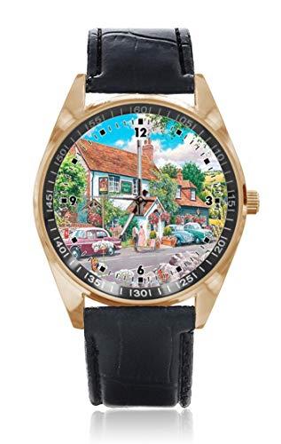 Choeter Ramble Lover - Reloj de pulsera personalizable para hombre y mujer, acero inoxidable, resistente al agua, con correa de piel reemplazable