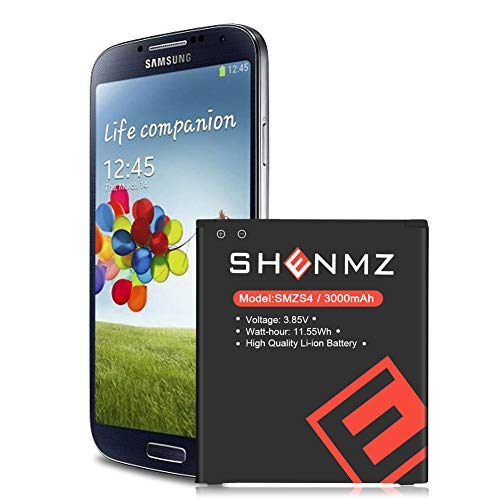 Galaxy S4 Battery,SHENMZ 3000mAh Li-ion Replacement Battery for Samsung Galaxy S4 EB-B600BE,T-Mobile M919,R970,I9500,I9505,LTE I9506,AT&T I337,Verizon I545,Sprint L720 [18 Months Warr]