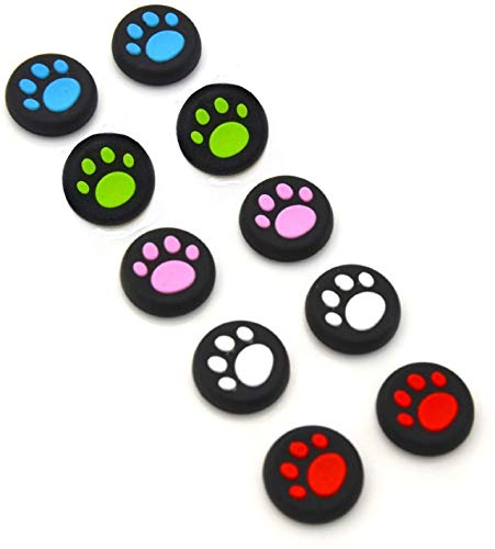 Timorn 5 Pairs 10 PCS Silicone Cat Pad Joystick Thumb Stick Caps Cover for PS4 PS3 PS2 Xbox One 360 Game Controller