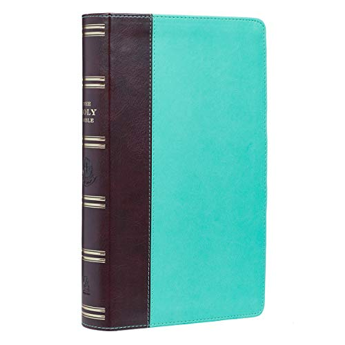 KJV Holy Bible, Giant Print Standard Bible, Teal and Brown Faux Leather Bible w/Ribbon Marker, Red Letter Edition, King James Version
