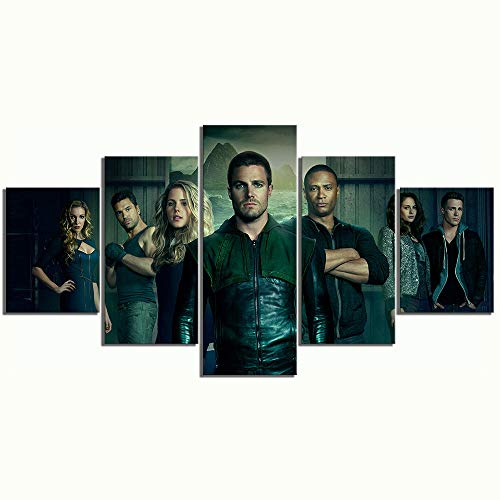 Mxsnow 5 Leinwanddrucke Rahmen Wandbilder Hd Green Arrow Movie Poster Gemälde Superheld Bilder Leinwandbilder Gemälde Drucke Auf Leinwand