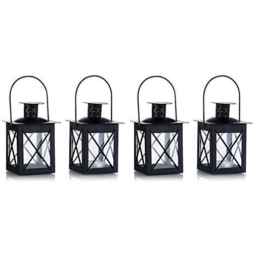 Nuptio Lanterne en Verre à Terre/suspendue, Lanterne en verre Portable, Petite lanterne rétro de fer, Suspension de décoration d'Intérieur/Cour (Schwarz, 4 Stück)