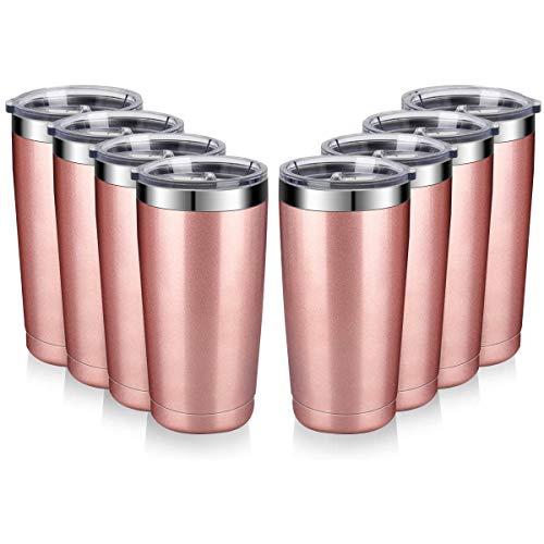 Amtidy - Confezione da 8 tazze da viaggio con coperchi, in acciaio inox, a doppia parete, con coperchio scorrevole resistente e isolante, per casa, ufficio, feste (oro rosa)