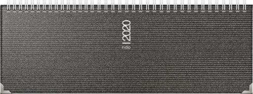 Preisvergleich Produktbild rido / idé 703613390 Tischkalender / Querterminbuch septant (2 Seiten = 1 Woche,  305 x 105 mm,  Kunststoff-Einband Visicron metallic,  Kalendarium 2020,  Wire-O-Bindung,  mit Metallecken) schwarz