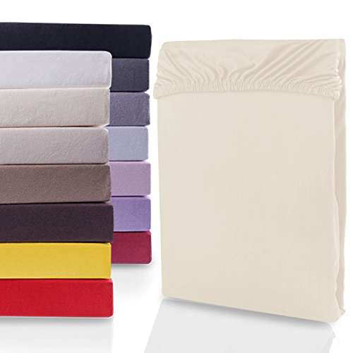 """#6 DecoKing Jersey Spannbettlaken, Spannbetttuch, Bettlaken, """"Nephrite Collection"""", 80x200 cm - 90x200 cm, Creme"""