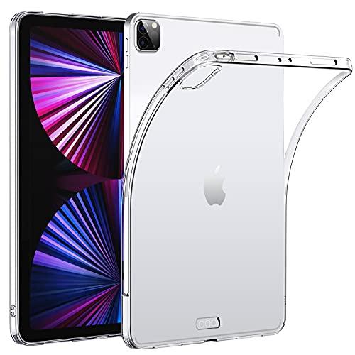 HBorna Funda para iPad Pro 12.9' 5th Generacion 2021 Carcasa Case - Clear Silicone Anti Slip Back Protector Case Shockproof for iPad Pro 12.9 [Support Apple Pencil 2nd Gen Charging], Transparente