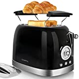 CROWNFUL 2-Slice Toaster, Extra Wide Slots, Retro Stainless Steel...