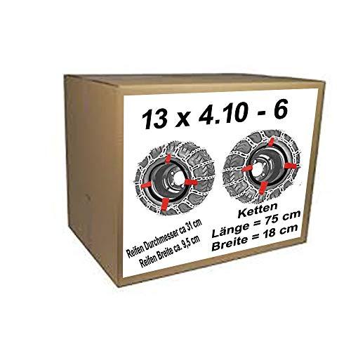 13x4.10-6 Schneeketten + Spanner für Rasentraktor Aufsitzmäher Reifen Durchmesser ca.31 cm Reifen Breite ca 9,5 cm