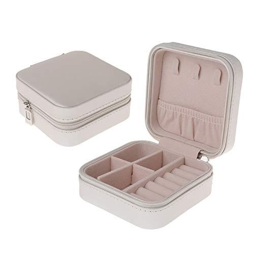 Caja de joyería Portátil Bolsa de Almacenamiento Zipper Tipo Portátil Maleta de exhibición (Color : White)