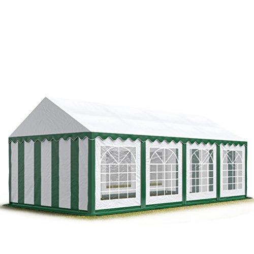 TOOLPORT Carpa para Fiestas Carpa de Fiesta 4x8 m Carpa de pabellón de jardín Aprox. 500g/m² Lona PVC en Verde-Blanco Impermeable