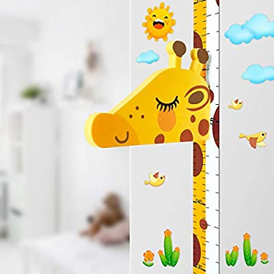 Baby Height Growth Chart Ruler for Kids Room Decor,3D Movable Giraffe Height Ruler Nursery Animal Wall Decals