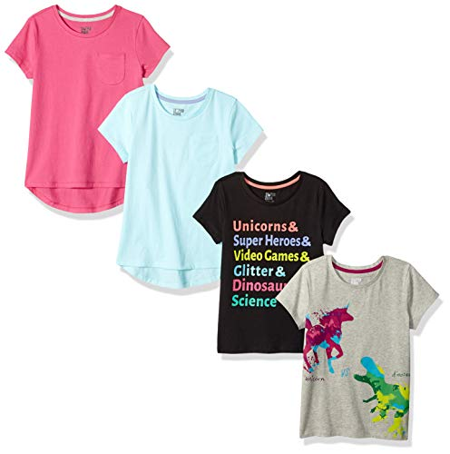 Amazon Brand - Spotted Zebra Girl's 4-Pack Short-Sleeve T-Shirts, Unicorn Dino, Large (10)