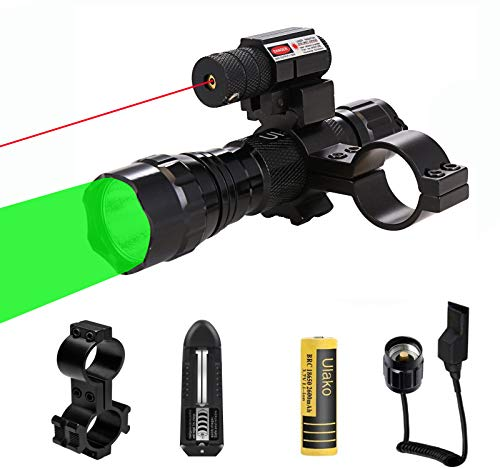 Ulako Red Dot Laser with 360 Yards Green Light Zoomable Single 1 Mode Tactical Flashlight Torch for Hunting with Scope Mount Pressure Switch