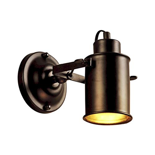 Lámpara de pared Lámpara De Pared Industrial Vintage, Lámpara De Proyector De Techo LED Retro Negra Lámpara De Pared Ajustable Luces De Pared De Metal Para Porche Bañadores de pared ( Color : Black )