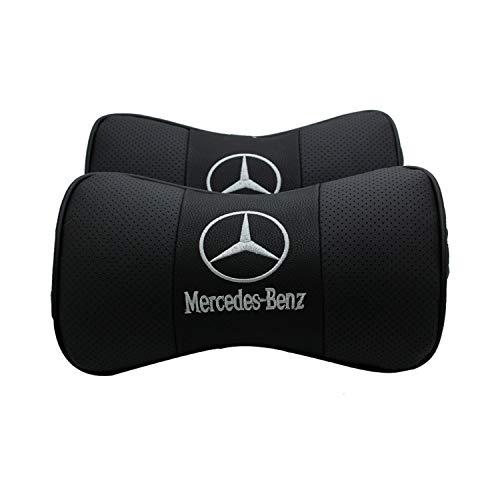 Interestingcar 2 STÜCKE Autositz Nackenkissen, Echtes Leder Knochenförmigen Auto Nackenkissen, Kopfstütze Kissen für Nackenschmerzen Linderung mit Logo-Muster (Fit Merce-des-Be-nz)