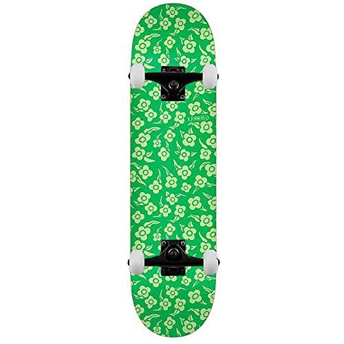 Krooked Flowers - Skateboard completo, 21,3 cm, colore: Verde