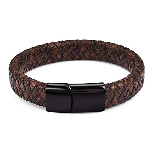 Jewellery Bracelets Bangle For Womens Men Braided Leather Bracelet Stainless Steel Magnetic Clasp Fashion Black/Brown Bangles Punk Men Jewelry-Vintage_20.5Cm