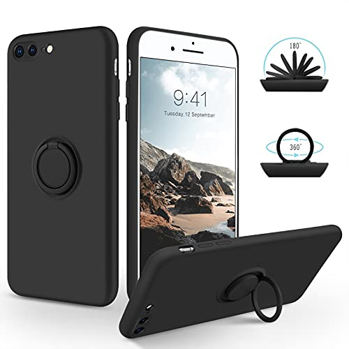 SouliGo iPhone 7 Plus Hülle, iPhone 8 Plus Hülle Handyhülle, Silikon Gel Slim Hülle Cover mit 360 Grad Ring Halter Ständer stabil Kratzfest Hülle für iPhone 7 Plus/8 Plus 5.5 Zoll Schwarz