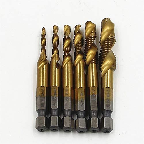 HONYGE LXGANG 6pc/set Tap Hex Shank HSS 6542 Screw Spiral Point Thread Metric Plug Drill Bits M3 M4 M5 M6 M8 M10 Combination 1/4 Inch Hex Drill Bits