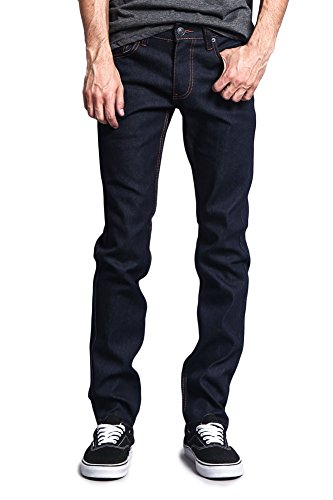 Victorious Mens Skinny Fit Unwashed Raw Denim Jeans DL938 - Indigo/Timber - 34/32