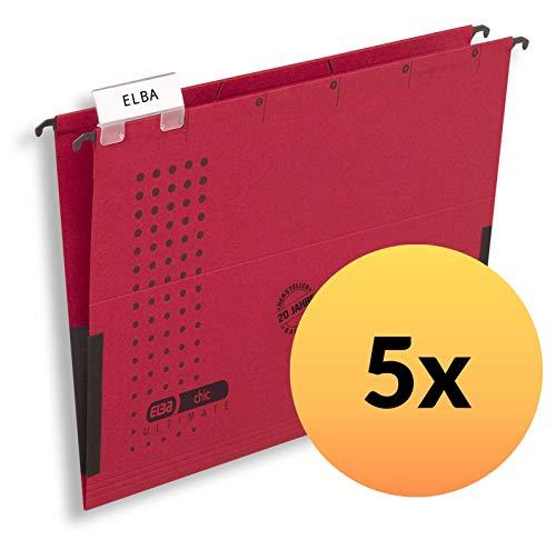 ELBA 100560145 Hängetasche chic ULTIMATE 5er Pack aus Recycling-Karton für DIN A4 mit Leinenfröschen in rot - ideal für die lose Blatt-Ablage im Büro und der Behörde