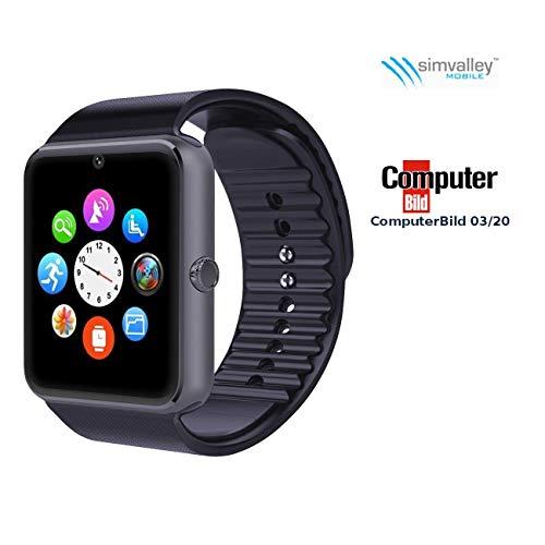 simvalley MOBILE Handyuhr: Handy-Uhr & Smartwatch mit IPS-Display, Kamera, Bluetooth & App (Watch)