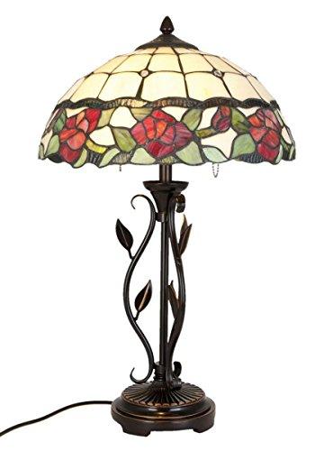Lumilamp 5LL-5785 Tischleuchte Tischlampe Tiffany Stil Ø 35 * 61 cm cm 2X E27/60W dekoratives buntglas Tiffany Stil