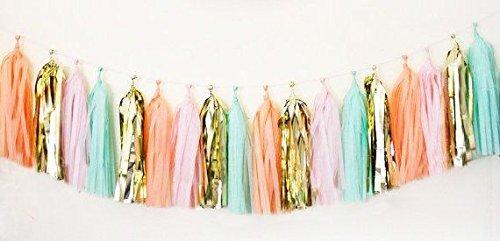 Saitec 20x Mint Pink Gold Peach Tissue Paper Tassels for Party Wedding Gold Garland Bunting Pom Pom
