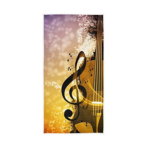 30x15 zoll für Bad Home Hotel Gym Spa Saugstarke Badetücher Hand Dekorative Gast Mehrzweck Musik Symbol Instrument Klavier Vögel Weiche Große