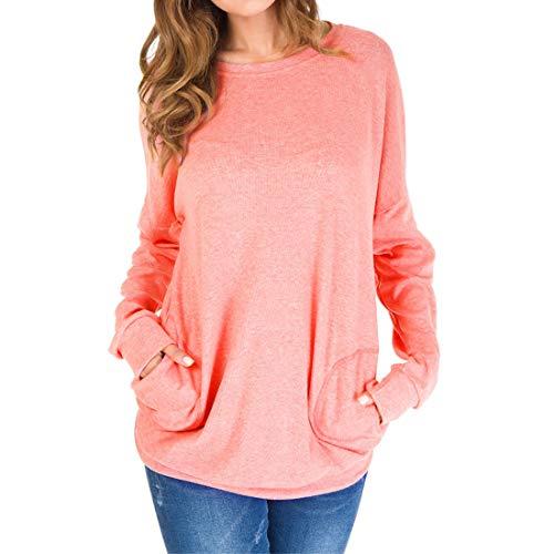 Shirt Damen T-Shirt Damen Elegant Rundhals Lässig Mode Langarm T Shirt Einfarbig Elastischen Stoff All-Match Fashion Damen Sweatshirt A-Pink S