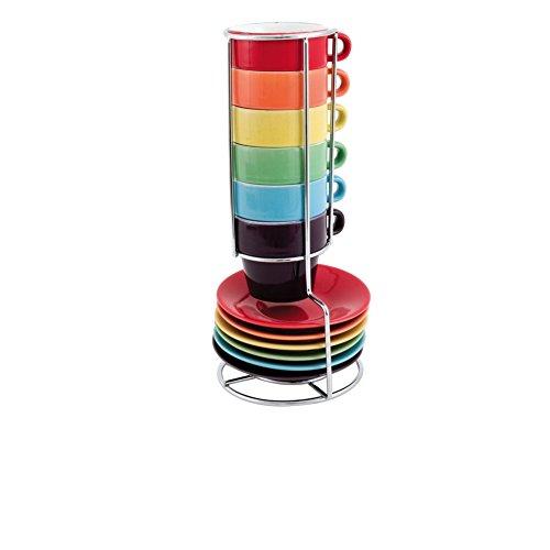 Keramik Espresso Set Regenbogen Turm Mit