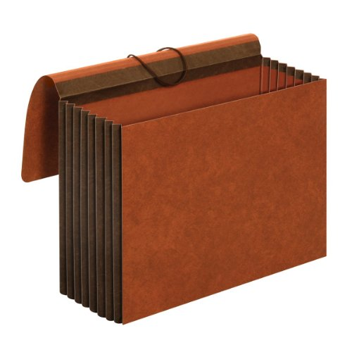 Globe-Weis/Pendaflex Heavy Duty File Wallets, Extra Wide, 7-Inch Expansion, Elastic Cord Closure, Letter Size, Brown, 5-Count (CL1084GLHD)