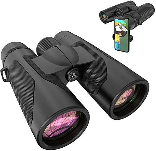 MWKL Binoculares 12x42 para Adultos con Nuevo Adaptador de fotografía para teléfono Inteligente - Ocular de visión Grande de 18 mm - Prisma BAK4 superbrillante de 16,5 mm FMC